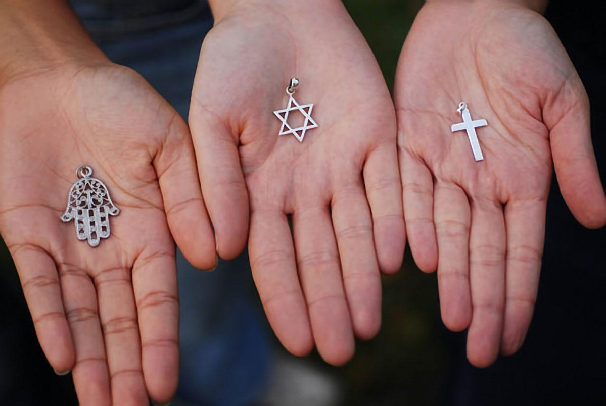 11 Nov 2006, Paris, France --- Symbols of the Three Monotheistic Religions --- Image by © SÈbastien DÈsarmaux/Godong/Corbis