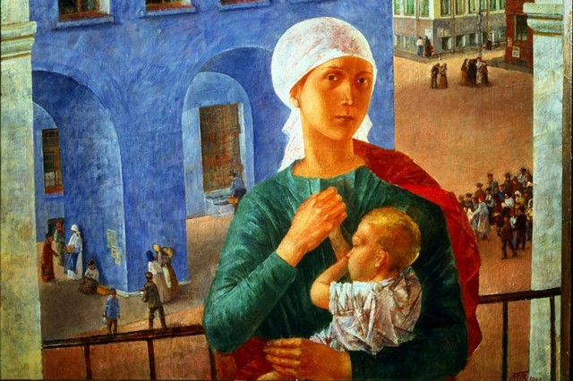 Kuzma Petrov-Vodkin, The year 1918 in Petrograd, 1920, oil on canvas, State Tretyakov Gallery. Moscow. Russia.