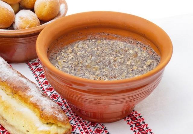 Christmas food in Ukraine - kutya, donuts and cake with poppy seeds